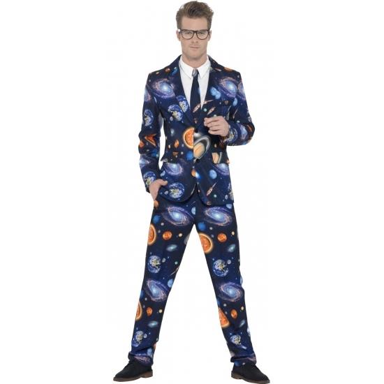 Heren kostuum galaxy. dit 3 delig heren kostuum met colbert, broek en stropdas heeft een all over print van ...