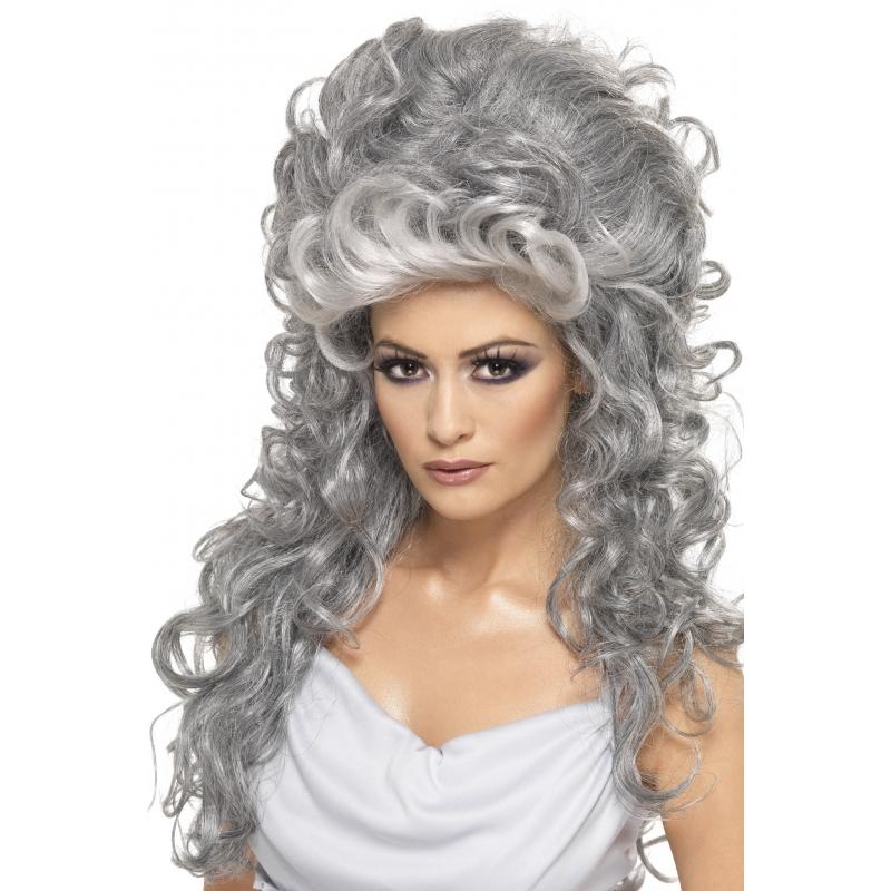 Hoge dames pruik in het grijs