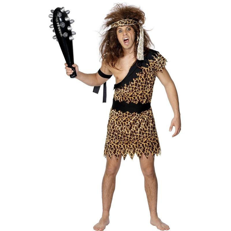 Caveman heren kostuum. holbewoner verkleedkleding voor heren inclusief hoofd  en armband.