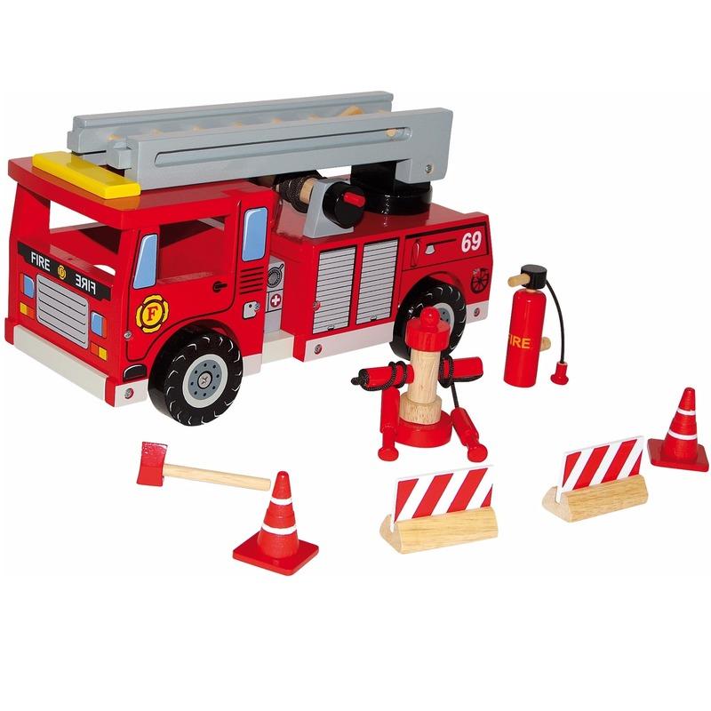 Houten speelgoed Houten brandweerwagen voor kinderen