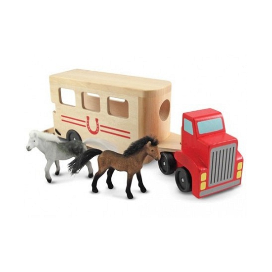 Houten paarden box en truck Geen Speelgoedvoertuigen