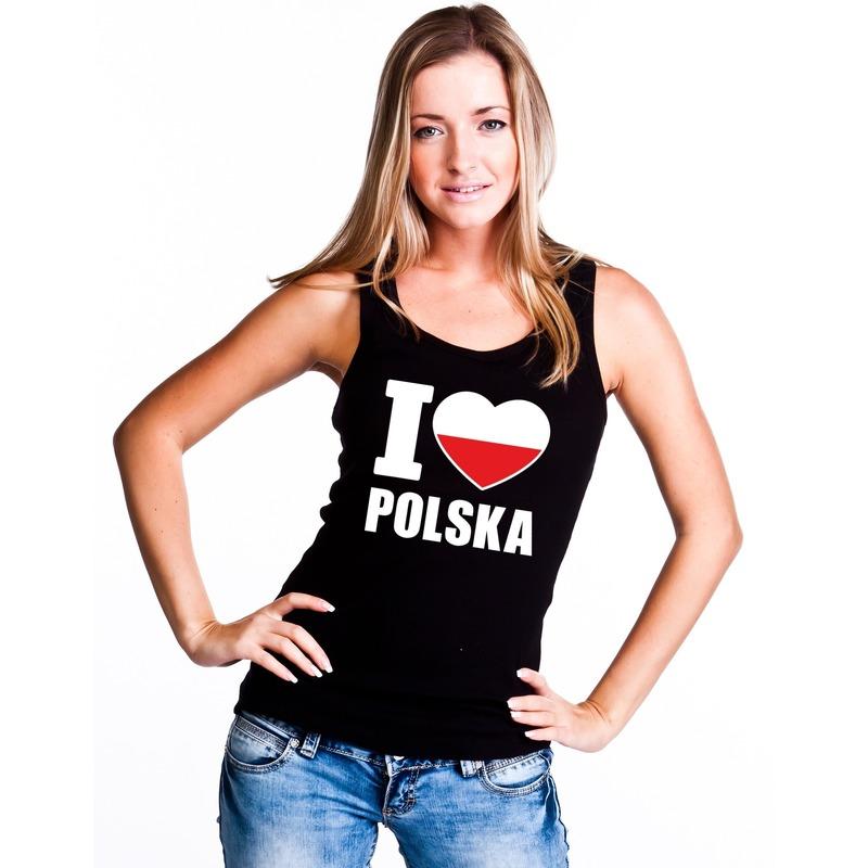 Landen versiering en vlaggen I love Polen supporter mouwloos shirt zwart dames