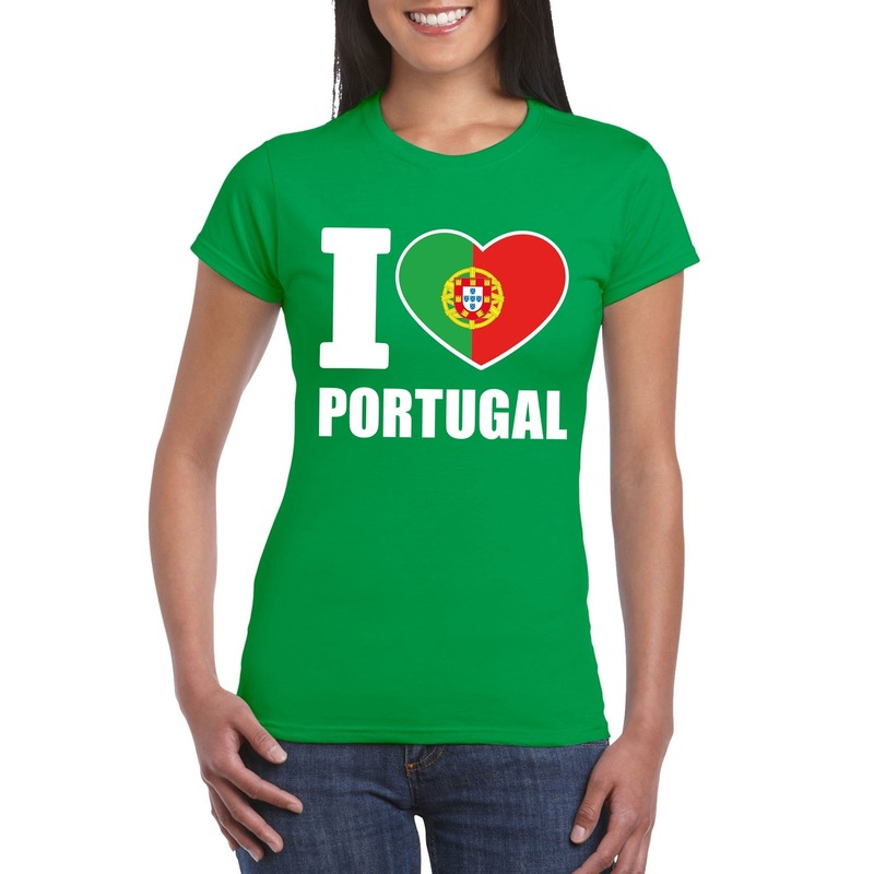 Shoppartners I love Portugal supporter shirt groen dames Landen versiering en vlaggen