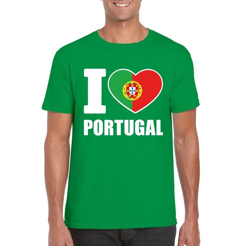 I love Portugal supporter shirt groen heren Shoppartners Landen versiering en vlaggen