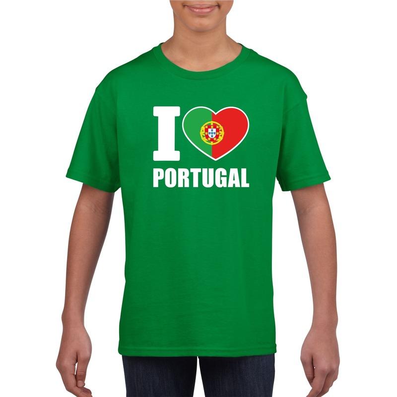 Landen versiering en vlaggen Shoppartners I love Portugal supporter shirt groen jongens en meisjes