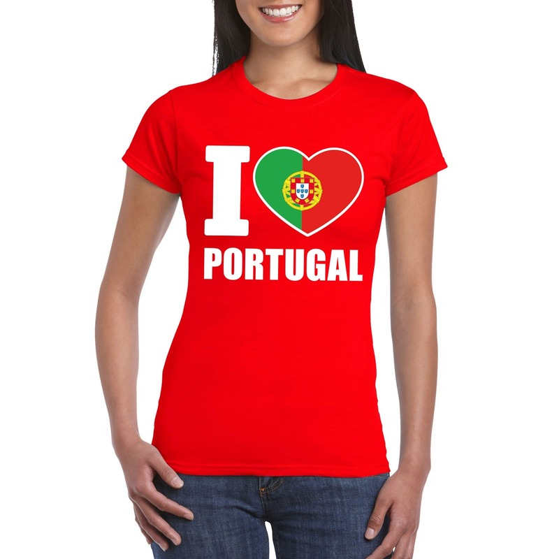 Landen versiering en vlaggen Shoppartners I love Portugal supporter shirt rood dames