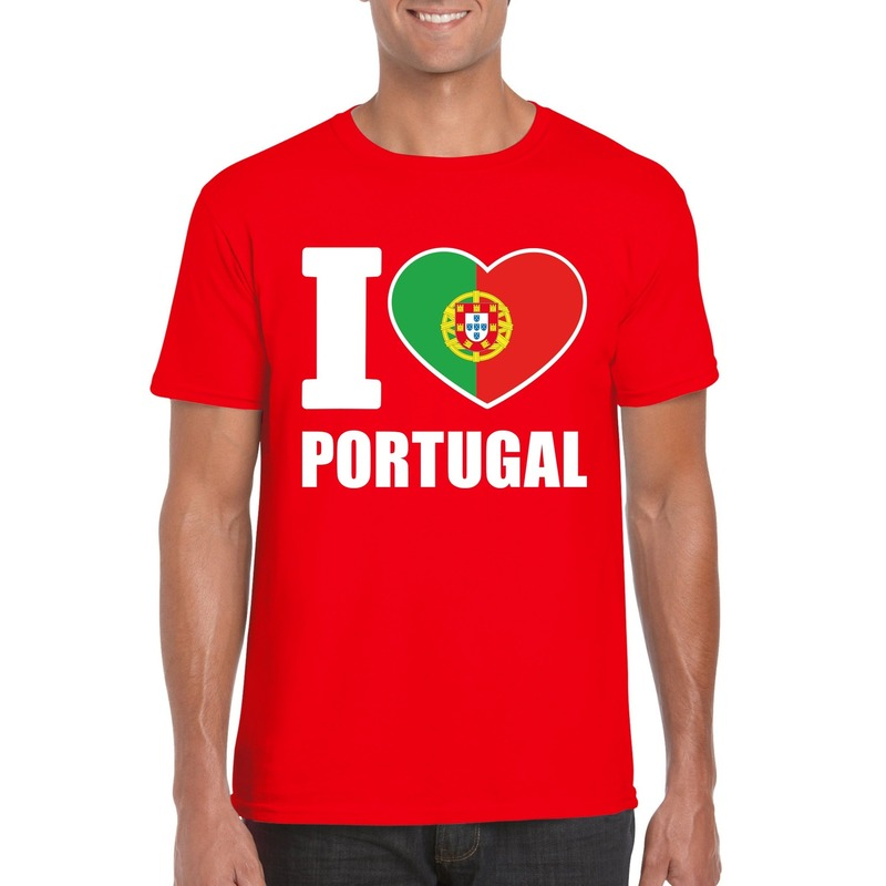 I love Portugal supporter shirt rood heren Shoppartners Hoge kwaliteit
