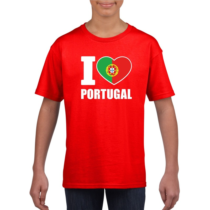 Landen versiering en vlaggen I love Portugal supporter shirt rood jongens en meisjes