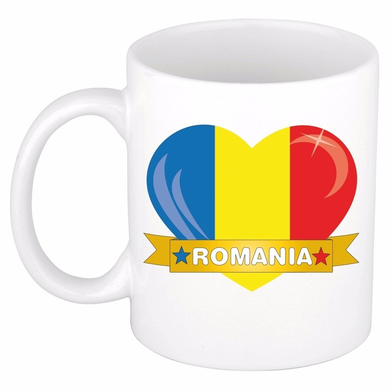 Landen versiering en vlaggen Shoppartners I love Roemenie mok beker 300 ml