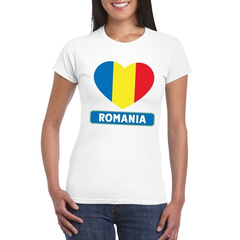 I love Roemenie t shirt wit dames Shoppartners Koopje