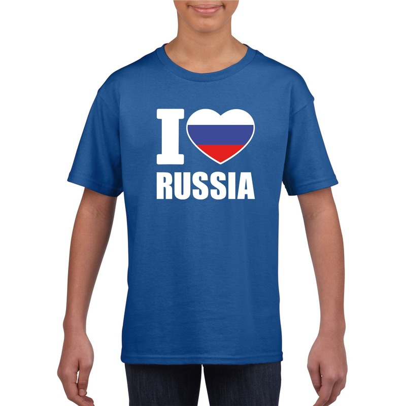 I love Rusland supporter shirt blauw jongens en meisjes Shoppartners nieuw