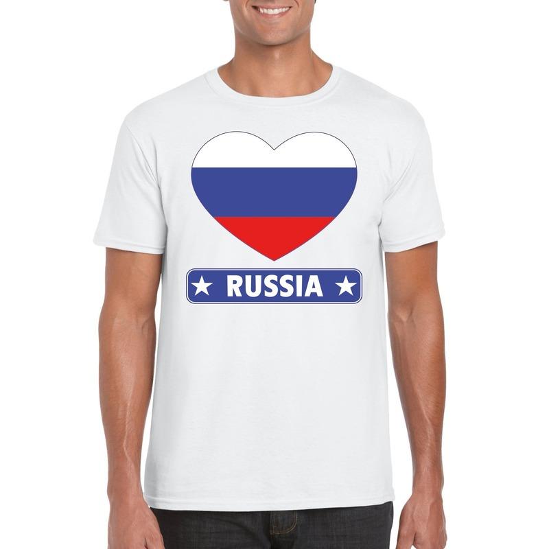 Landen versiering en vlaggen Shoppartners I love Rusland t shirt wit heren