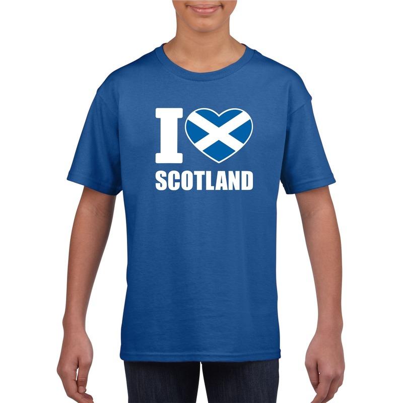 I love Schotland supporter shirt blauw jongens en meisjes Shoppartners Landen versiering en vlaggen