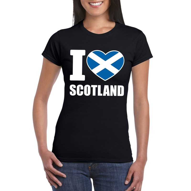 Landen versiering en vlaggen Shoppartners I love Schotland supporter shirt zwart dames