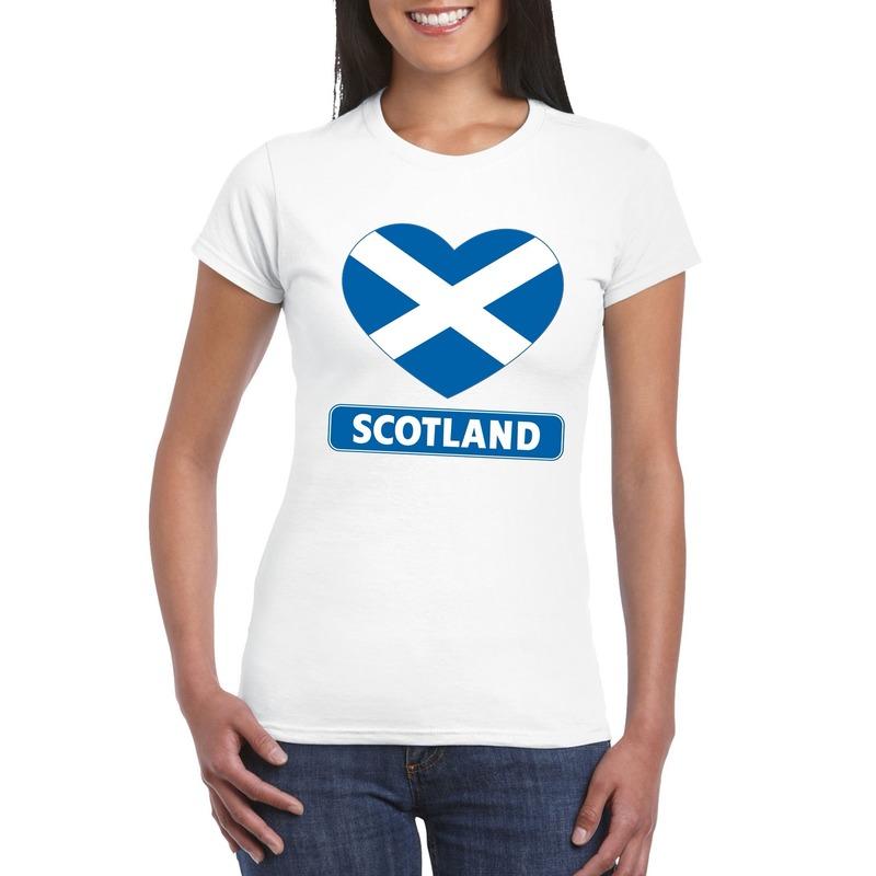 Landen versiering en vlaggen Shoppartners I love Schotland t shirt wit dames