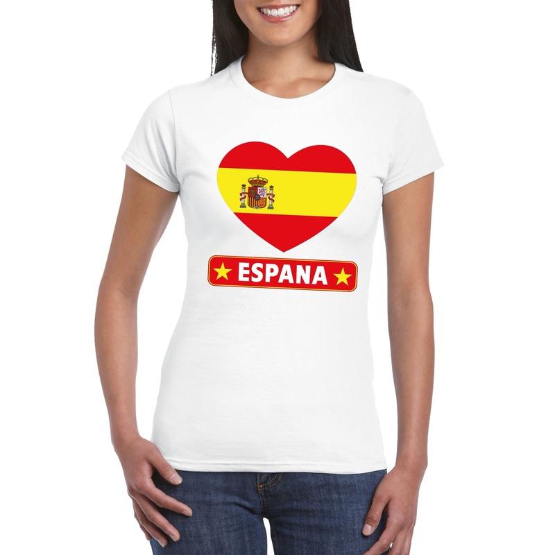 Shoppartners I love Spanje t shirt wit dames Landen versiering en vlaggen