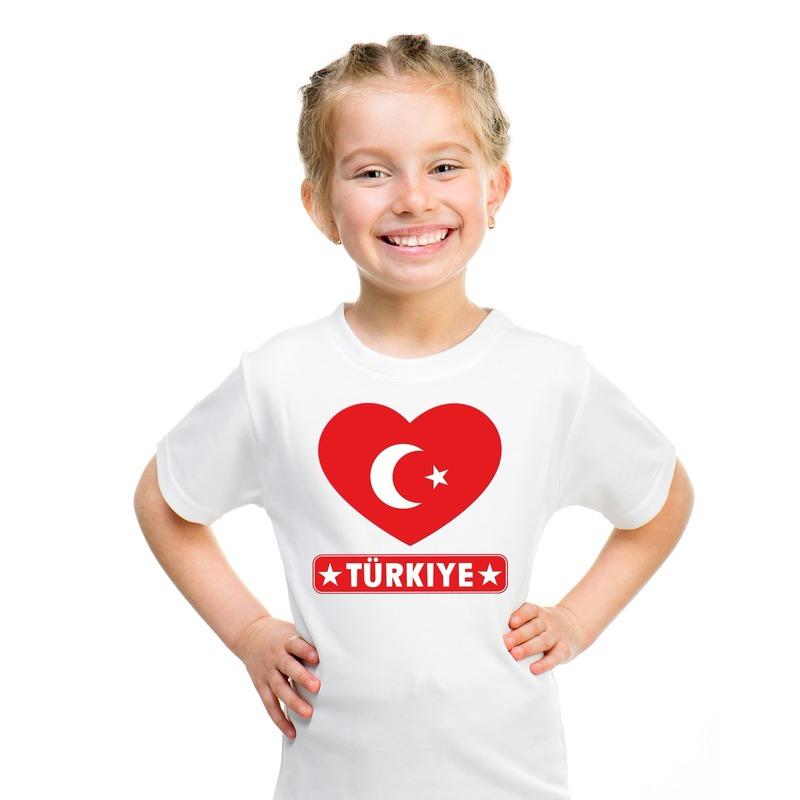 Landen versiering en vlaggen Shoppartners I love Turkije t shirt wit kinderen