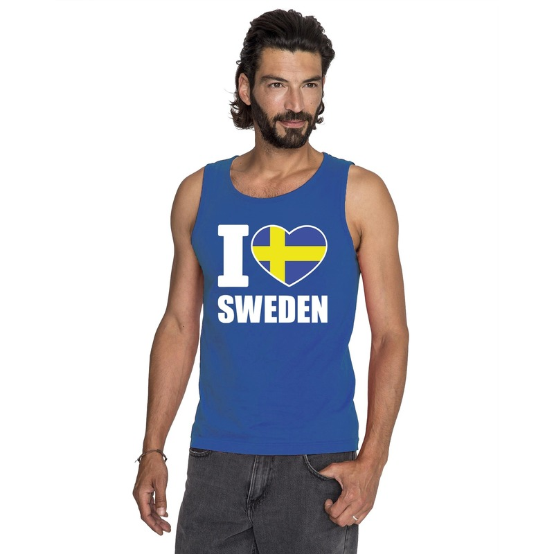 Landen versiering en vlaggen Shoppartners I love Zweden supporter mouwloos shirt blauw heren