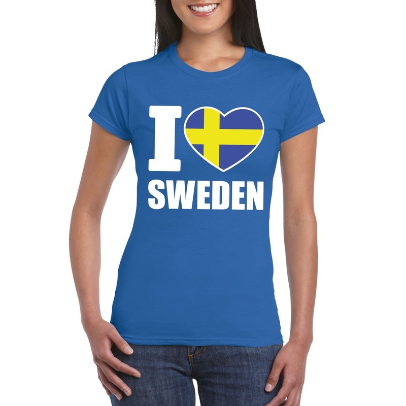 Landen versiering en vlaggen I love Zweden supporter shirt blauw dames