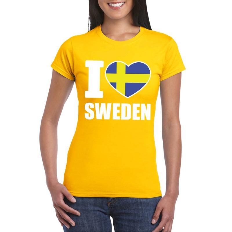Shoppartners I love Zweden supporter shirt geel dames Landen versiering en vlaggen