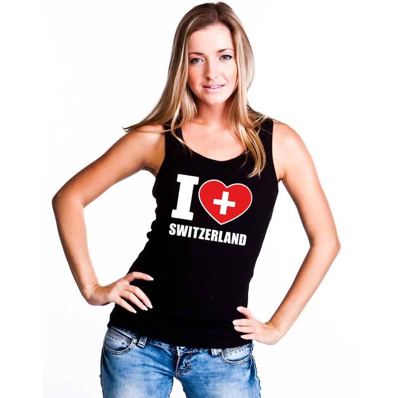 Landen versiering en vlaggen I love Zwitserland supporter mouwloos shirt zwart dames
