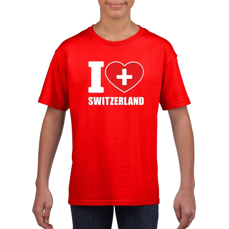 Landen versiering en vlaggen Shoppartners I love Zwitserland supporter shirt rood jongens en meisjes