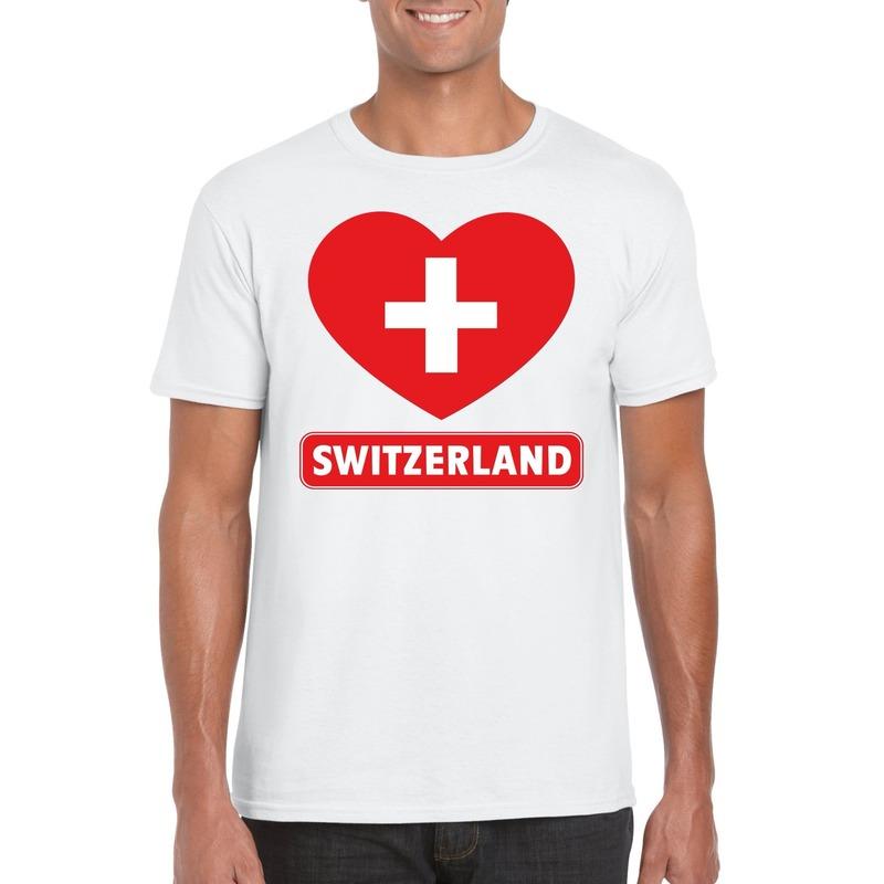 I love Zwitserland t shirt wit heren Shoppartners Landen versiering en vlaggen