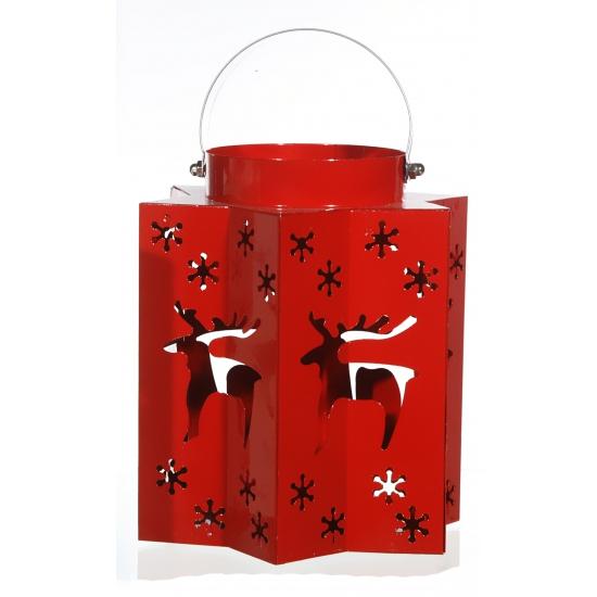 Kerst lantaarn met rendieren rood. deze kerst lantaarn in de kleur rood heeft uitgesneden sterren en ...