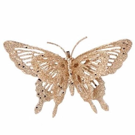 Kerstboom decoratie vlinder goud 15 cm