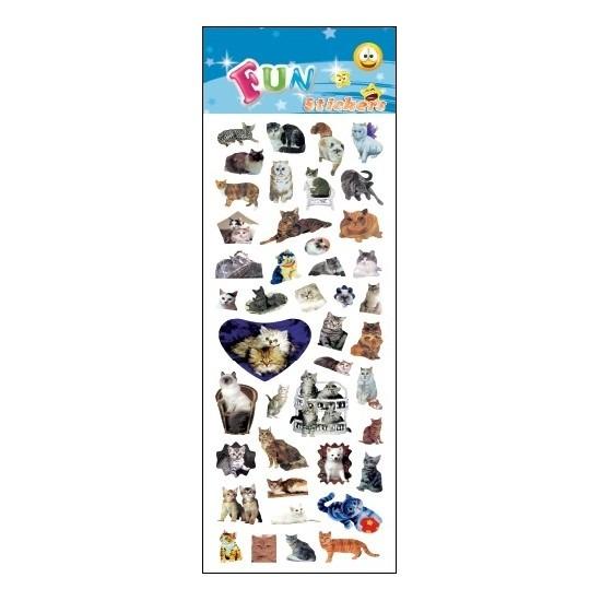 Stickervel poezen. een stickervel vol met leuke stickers van katten/poezen. het vel bevat ongeveer 20 ...