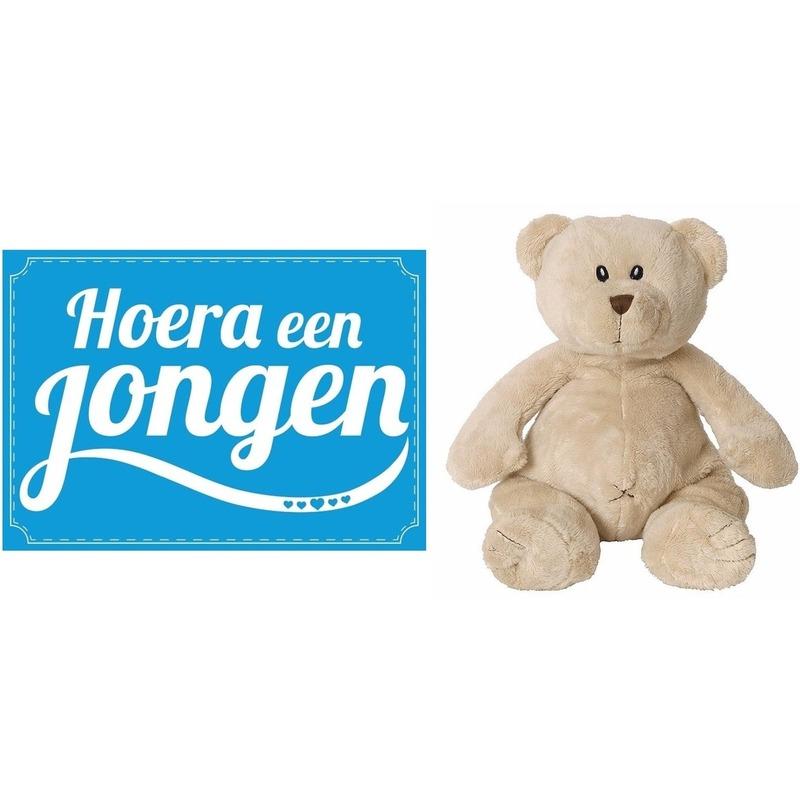 Kraamcadeau beren knuffel 17 cm met Hoera een jongen wenskaart ansichtkaart Happy Horse Beste