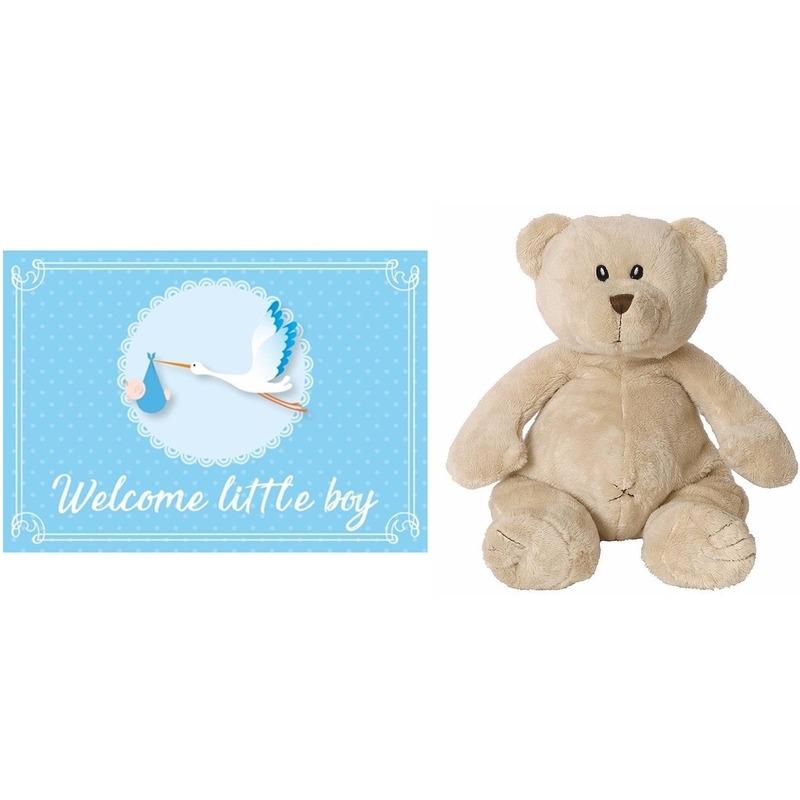 Baby kado knuffels Kraamcadeau beren knuffel 17 cm met Welcome little boy wenskaart ansichtkaart