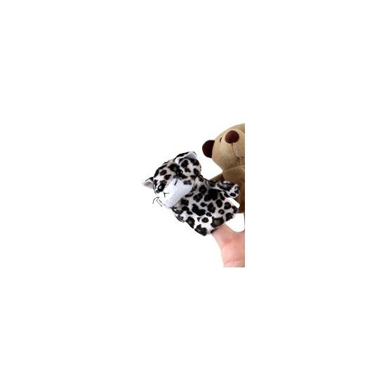 Luipaarden vingerpop van pluche Geen Handpoppen