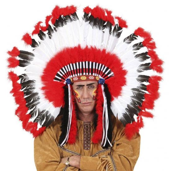 Luxe indianentooi rood-wit-zwart