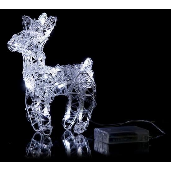 Kerstverlichting mini rendier wit 16 led. decoratie rendier met 16 witte led lampjes. het rendier van 15 x ...