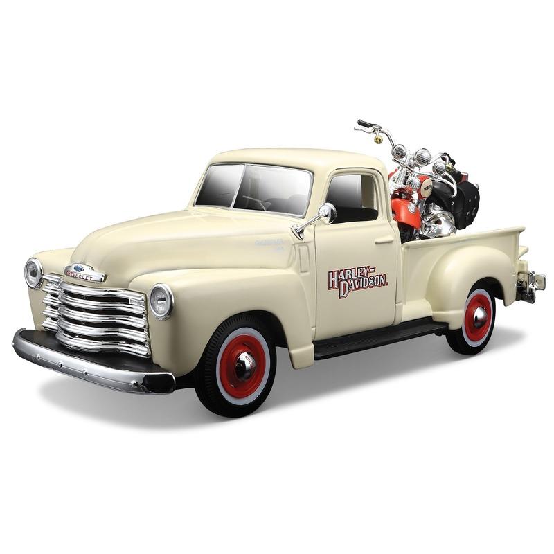 Speelgoedvoertuigen Maisto Model auto Chevrolet 3100 truck met Harley 1 24