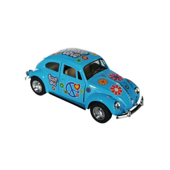 Speelgoedvoertuigen Modelautootje VW beetle blauw hippie 12,5 cm