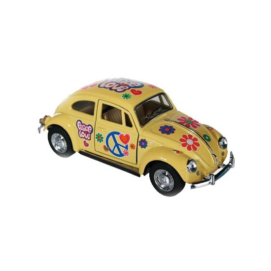 Volkswagen Modelautootje VW beetle geel hippie 12,5 cm Speelgoedvoertuigen