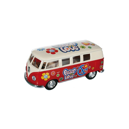 Speelgoedvoertuigen Volkswagen Modelbusje VW T1 rood hippie 12,5 cm