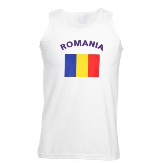 Landen versiering en vlaggen Shoppartners Mouwloos t shirt met Romeense vlag