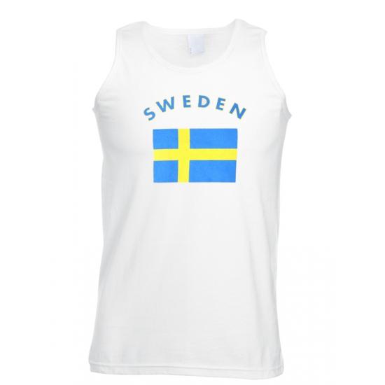 Landen versiering en vlaggen Shoppartners Mouwloos t shirt met Zweedse vlag