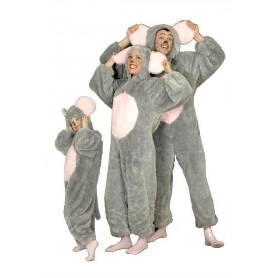 Grijze muis kostuum voor volwassenen. dit muizen kostuum bestaat uit een grijze jumpsuit met een capuchon. ...