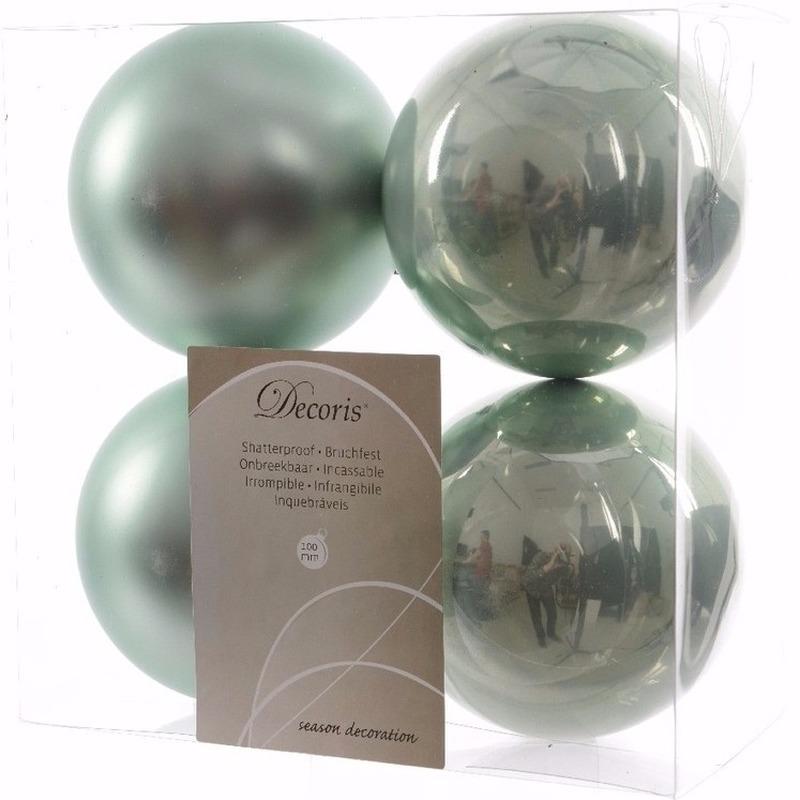 Nature Christmas kerstboom decoratie kerstballen 10 cm mint 4 stuks