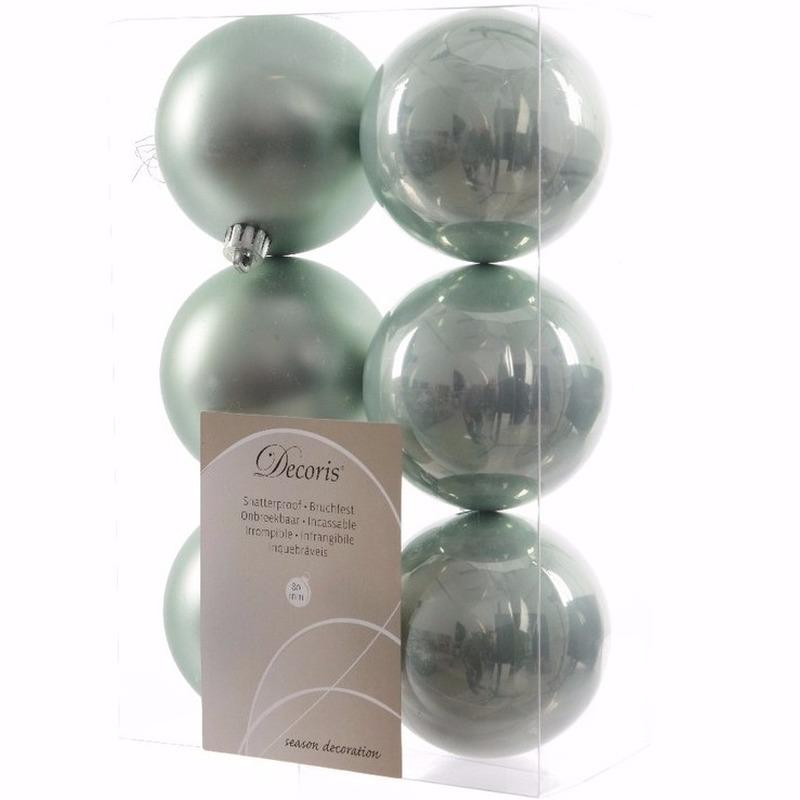 Nature Christmas kerstboom decoratie kerstballen mint 6 stuks