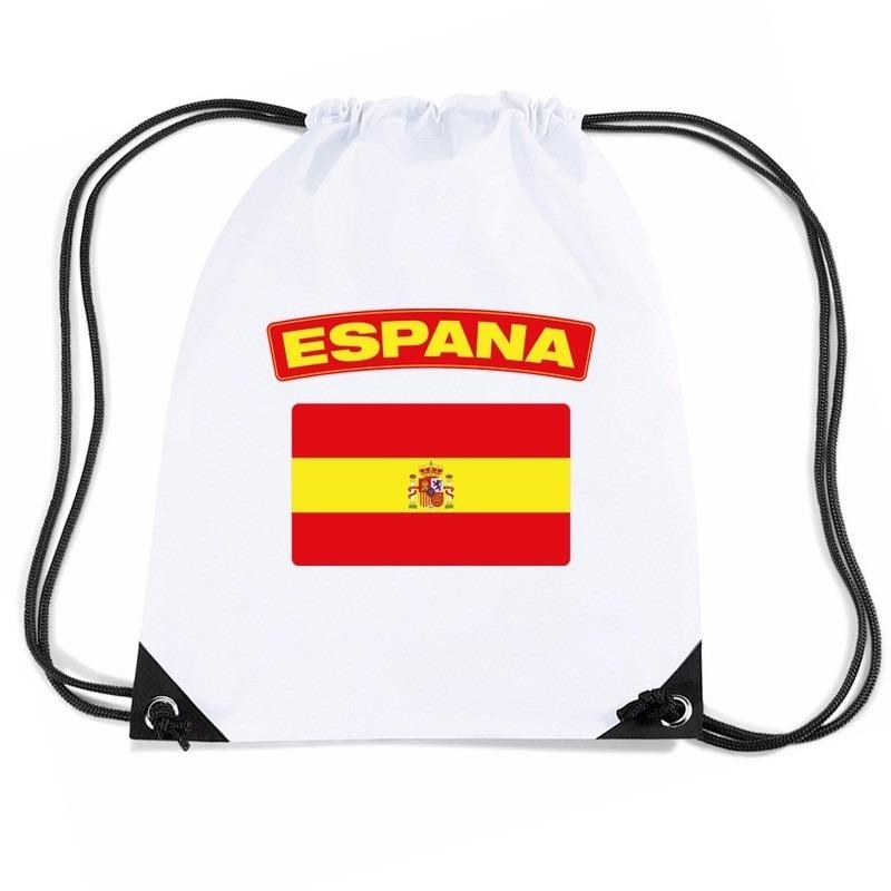 Landen versiering en vlaggen Shoppartners Nylon sporttas Spaanse vlag wit