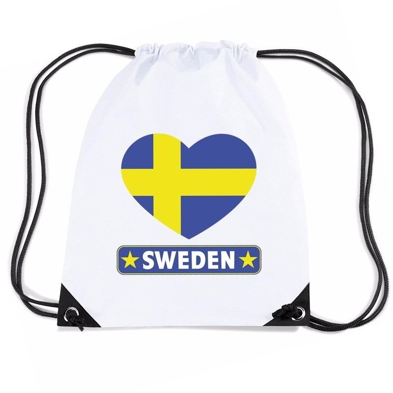 Nylon sporttas Zweden hart vlag wit Shoppartners Landen versiering en vlaggen