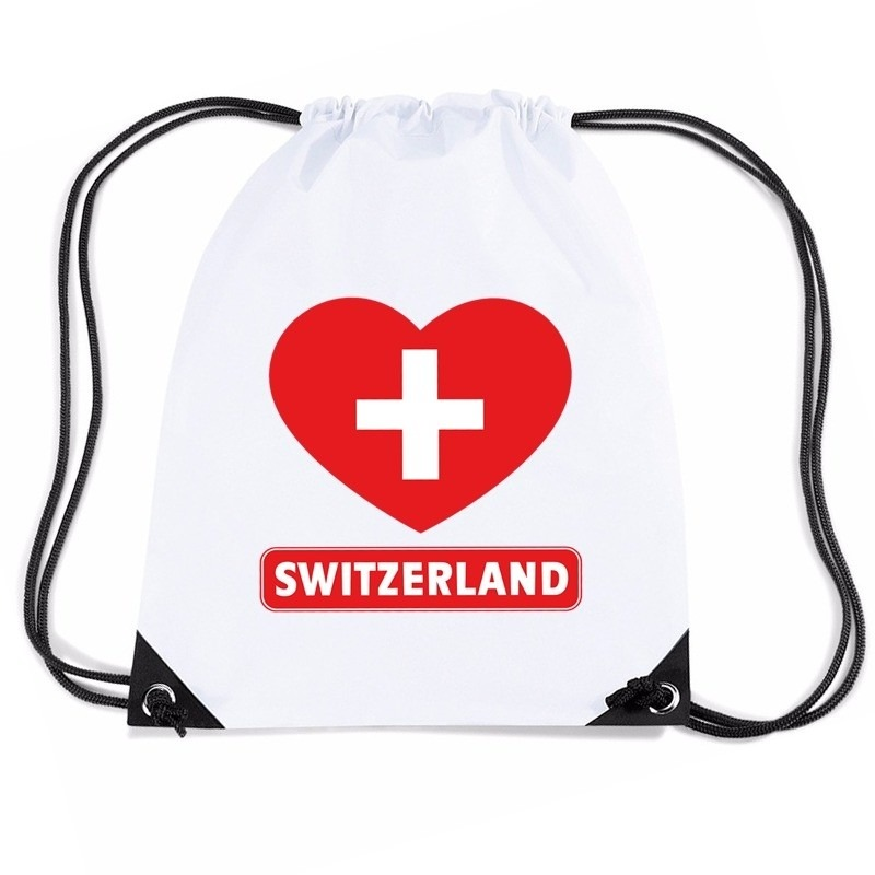 Landen versiering en vlaggen Nylon sporttas Zwitserland hart vlag wit