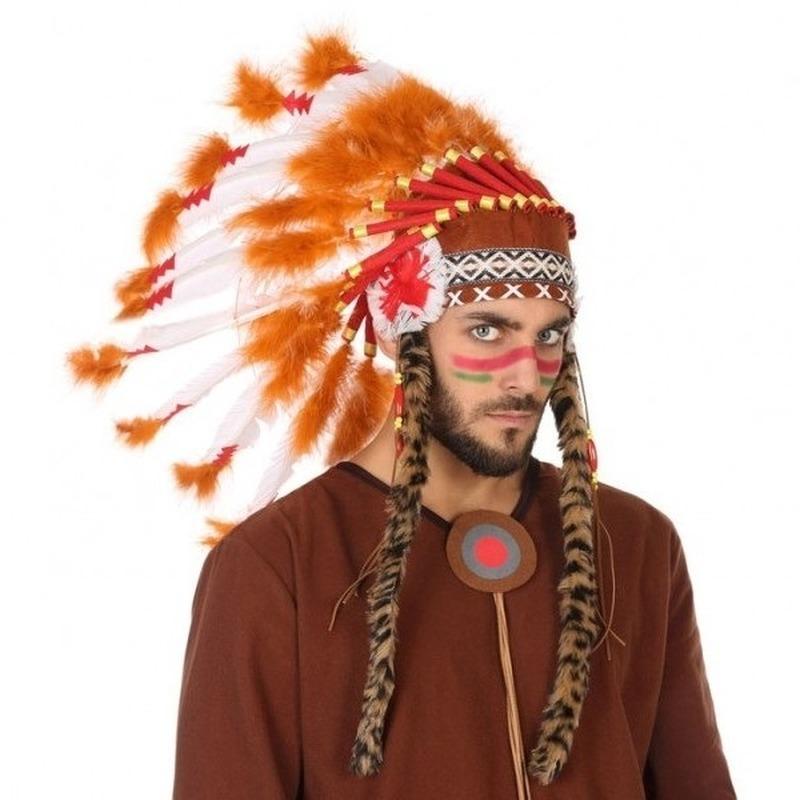 Oranje-witte indianen tooi voor heren