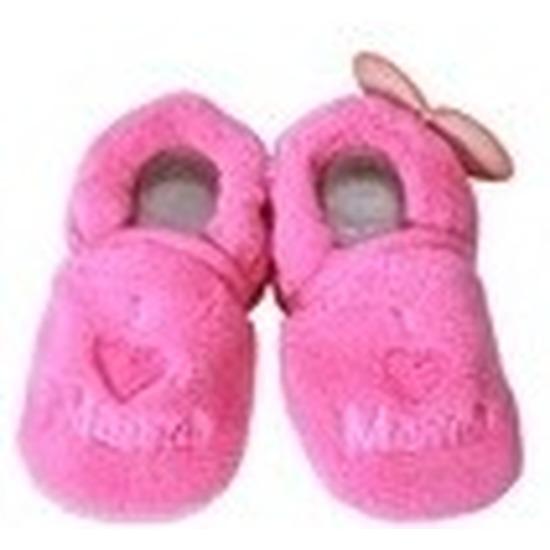 Pantoffels sloffen love mama fuchsia voor babies Babyslofjes Het leukste