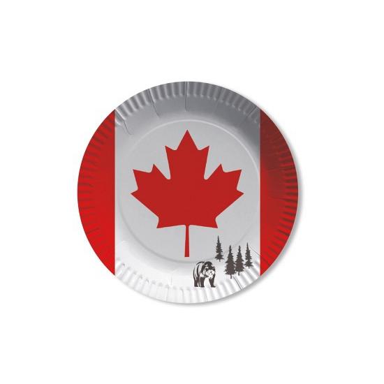 Geen Papieren Canada bordjes 8 st Landen versiering en vlaggen
